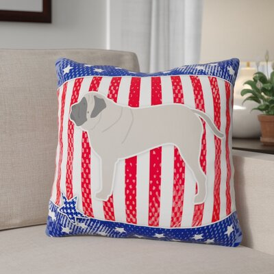 Patriotic Solid Blue/Red Indoor/Outdoor Throw Pillow Size: 18 H x 18 W x 3 D