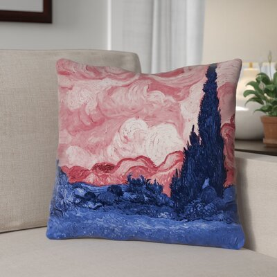 Lapine Wheatfield with Cypresses Linen Throw Pillow Color: Red/Blue, Size: 14 x 14