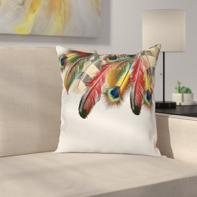 Fabric Case Peacock Feathers Boho Square Pillow Cover Size: 24 x 24
