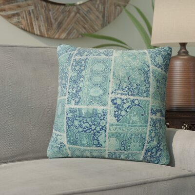 Duane Patchwork Throw Pillow Size: 16 H x 16 W x 6 D, Color: Turquoise, Teal/ Ivory