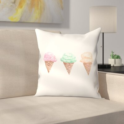 Jetty Printables Watercolor Ice Cream Cone Trio Throw Pillow Size: 20 x 20