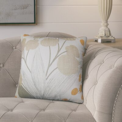 Berkhamstead Floral Linen Throw Pillow Color: Tan