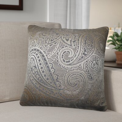 Digby Paisley Cotton Throw Pillow Color: Gray