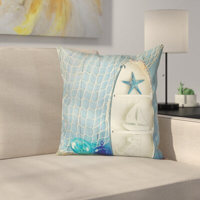 Nautical Marine Icons Starfish Square Pillow Cover Size: 18 x 18
