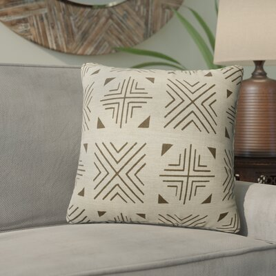 Bemelle Mud Cloth Throw Pillow Size: 16 H x 16 W, Color: Grey/ Ivory