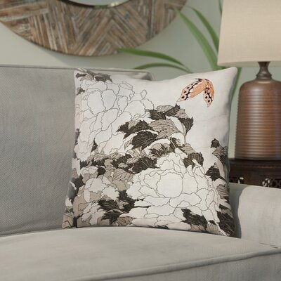 Clair Peonies with Butterfly Linen Throw Pillow Color: Peach/Gray, Size: 14 x 14