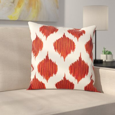 Amabel Stitched Ikat Geometric Cotton Throw Pillow Color: Brick