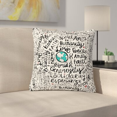 Pom Graphic Design Positive World Outdoor Throw Pillow Size: 16 H x 16 W x 5 D