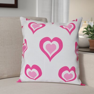 Valentines Day Throw Pillow in White Size: 18 H x 18 W, Color: Fuchsia