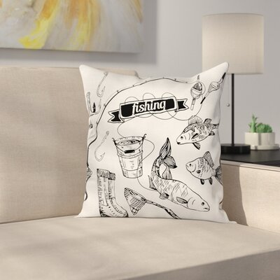 Fish Hand Drawn Animals Artsy Square Pillow Cover Size: 16 x 16