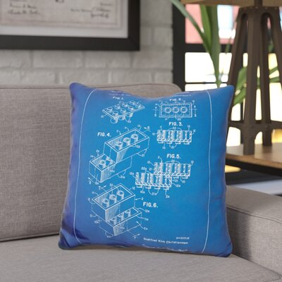 Chason Toy Brick Throw Pillow Color: Blue