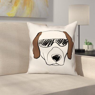 Dog with Sunglasses Pillow Cover Size: 20 x 20