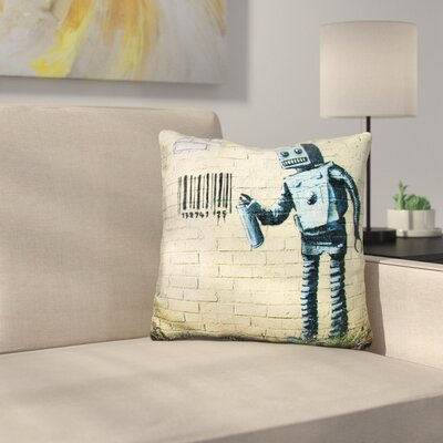 Robot and Barcode Throw Pillow
