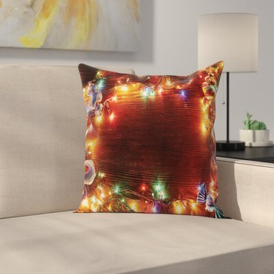 Christmas Fairy Lights Image Square Pillow Cover Size: 16 x 16