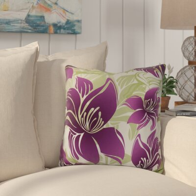 Costigan Tree Mallow Floral Print Outdoor Throw Pillow Size: 18 H x 18 W x 3 D, Color: Purple