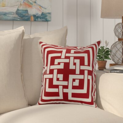 Crider Greek New Key Geometric Print Indoor/Outdoor Throw Pillow Color: Red, Size: 18 x 18