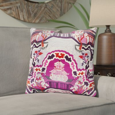 Maurice Silk Throw Pillow Size: 22 H x 22 W x 4 D, Color: Magenta, Filler: Down