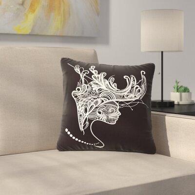 Maria Bazarova Horned Woman Outdoor Throw Pillow Size: 16 H x 16 W x 5 D
