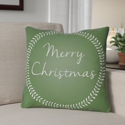 Merry Christmas Outdoor Throw Pillow Size: 20 H x 20 W x 4 D, Color: Green / White