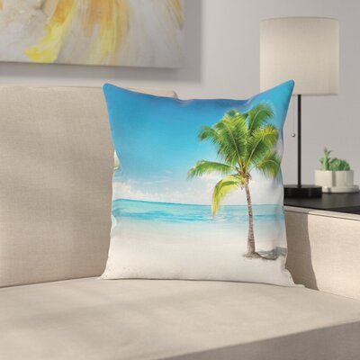 Coconut Tree on the Beach Pillow Cover Size: 20 x 20