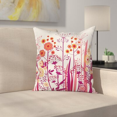 Florals Leaves Buds Square Pillow Cover Size: 16 x 16