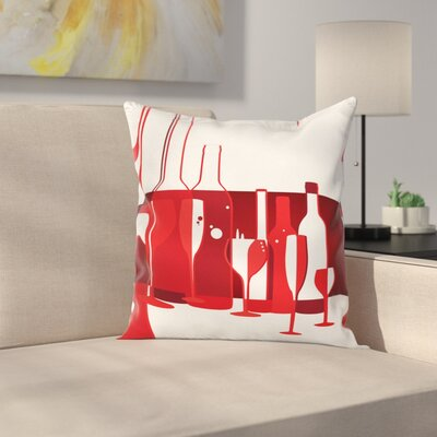 Wine Artistic Modern Abstract Square Pillow Cover Size: 18 x 18