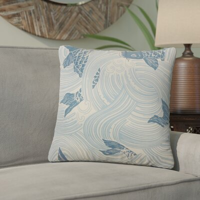 Yuriko Graphic Cotton Throw Pillow Color: Ocean Blue