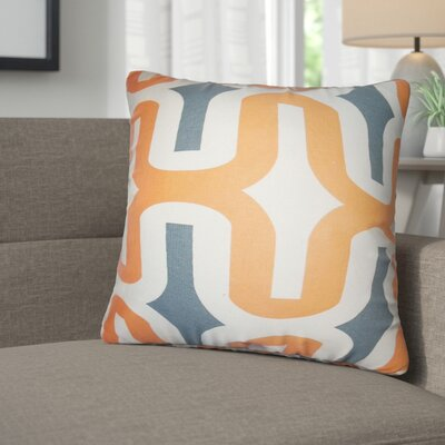 Angeline Geometric Square Cotton Throw Pillow Color: Orange