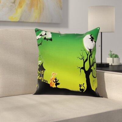 Halloween Decor Dancing Witch Square Pillow Cover Size: 16 x 16