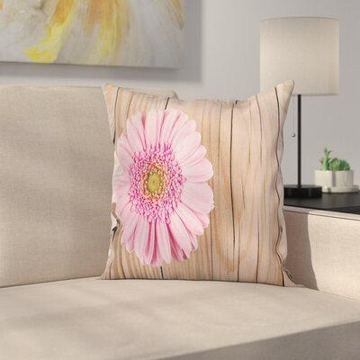 Floral Gerber on Wooden Square Pillow Cover Size: 18 x 18