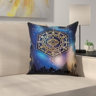 Glimmer Third Eye Milky Way Square Pillow Cover Size: 16 x 16