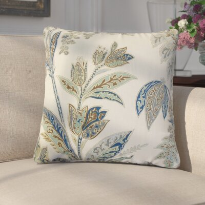 Marino Floral Linen Throw Pillow Color: Indigo