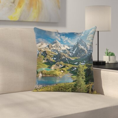 Nature Snowy Mountain Lake Square Pillow Cover Size: 24 x 24