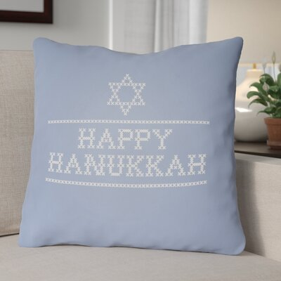Happy Hannukah Indoor/Outdoor Throw Pillow Size: 18 H x 18 W x 4 D, Color: Light Blue