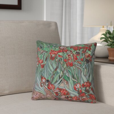 Morley 20 x 20 Irises Throw Pillow Color: Red/Green, Size: 20 x 20