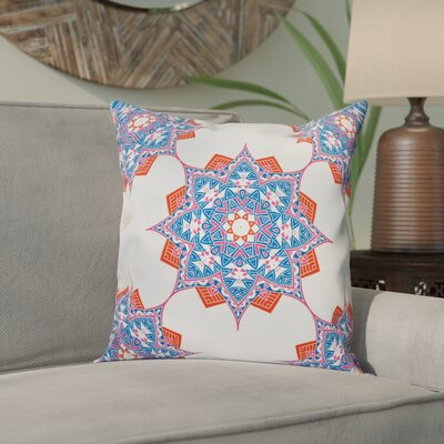 Meetinghouse Rhapsody Outdoor Throw Pillow Size: 18 H x 18 W, Color: Blue/Coral