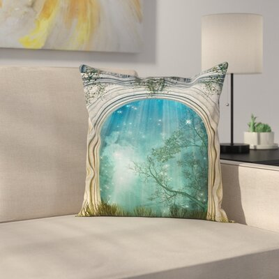 Forest Fairytale Door Stars Square Pillow Cover Size: 18 x 18