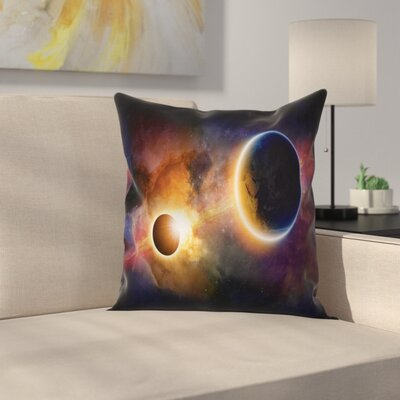 Outer Space Planet Earth Stars Square Pillow Cover Size: 20 x 20