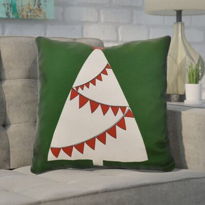 Christmas Tree Outdoor Throw Pillow Size: 16 H x 16 W, Color: Green