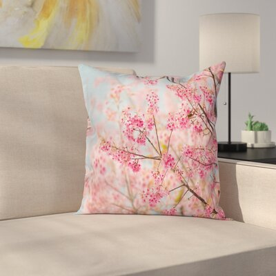 Japanese Sakura Cherry Cushion Pillow Cover Size: 16 x 16