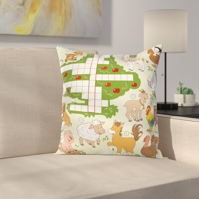 Puzzle Farm Animals Square Cushion Pillow Cover Size: 16 x 16