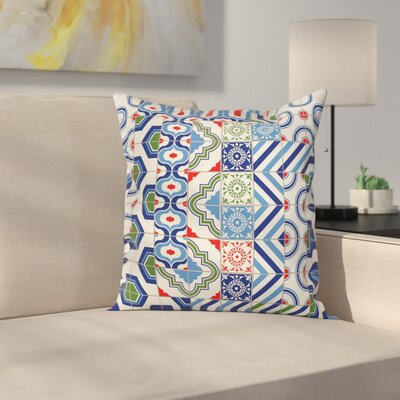 Polka Dots Shapes Square Pillow Cover Size: 24 x 24
