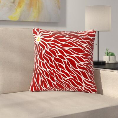 NL Designs Swirls Wave Pattern Outdoor Throw Pillow Size: 16 H x 16 W x 5 D, Color: Maroon