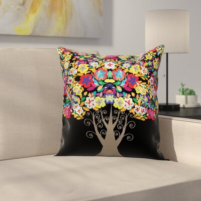Flower Tree Pillow Cover Size: 18 x 18