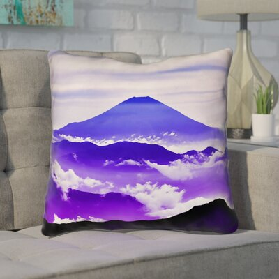 Enciso Fuji Linen Throw pillow Size: 18 H x 18 W, Color: Blue/Purple