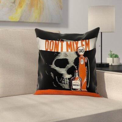 Anti-Drunk Driving Poster Square Pillow Cover Size: 16 x 16