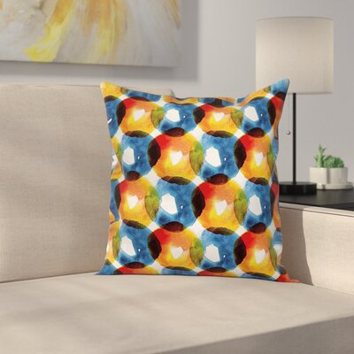 Modern Watercolor Ring Shapes Square Pillow Cover Size: 18 x 18