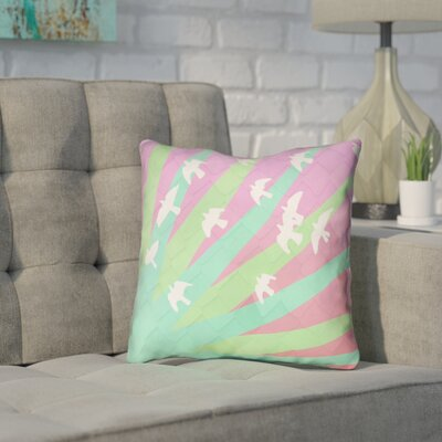 Enciso Birds and Sun Double Sided Print Throw Pillow Color: Green/Pink, Size: 16 x 16