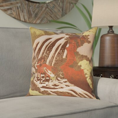 Channelle Horse and Waterfall Square Pillow Cover Size: 14 x 14, Color: Yellow