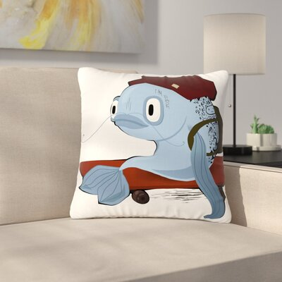 Anya Volk Fish Skateborder Outdoor Throw Pillow Size: 16 H x 16 W x 5 D